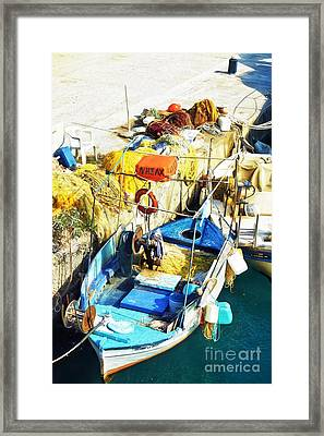 fishing boat in Crete Framed Print by HD Connelly
