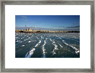 Fishing Boat In Ice At Rungsted Havn / Harbour Framed Print