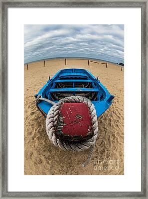 Little Blue Fishing Boat Framed Print
