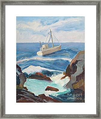 Fishing Boat On Rough Seas Framed Print by Jeri Borst