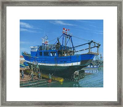 Fishing Boat Repairs Essaouira Morocco Framed Print