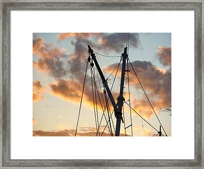Fishing Boat Rigging Framed Print by Betty Ann Morris
