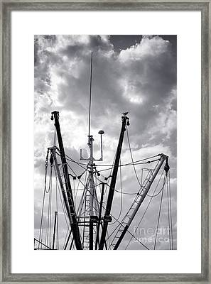 Fishing Boat Vessel Fleet Mast And Outrigger Booms Framed Print