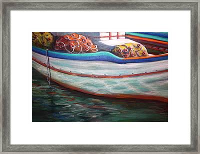Fishing Boatgreek  Framed Print by Yvonne Ayoub