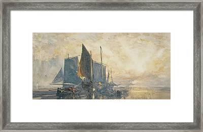 Fishing Boats At Anchor   Sunset Framed Print by William Roxby Beverly