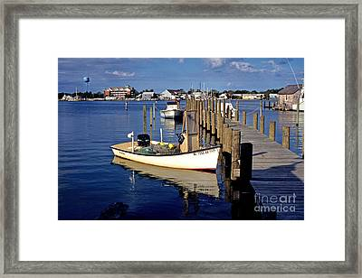 Fishing Boats At Dock Ocracoke Village Framed Print