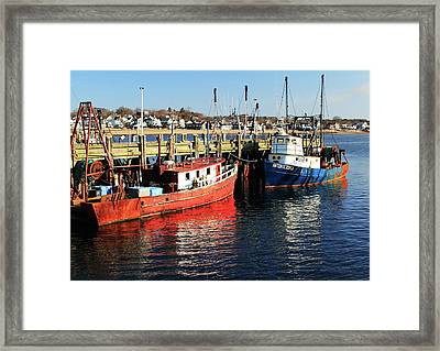 Framed Print featuring the photograph Fishing Boats At Provincetown Wharf by Roupen  Baker