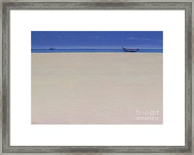 Fishing Boats At Puvar, Kerala  Framed Print by Derek Hare