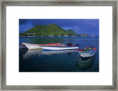 Fishing Boats At Sunrise- St Lucia Framed Print