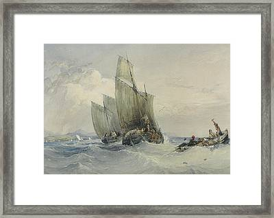 Fishing Boats Framed Print by Charles Bentley