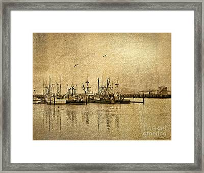 Framed Print featuring the photograph Fishing Boats Columbia River In Sepia by Susan Parish