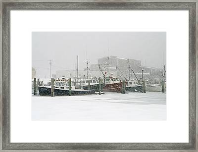 Fishing Boats During Winter Storm Sandwich Cape Cod Framed Print