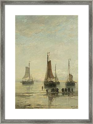 Fishing Boats From Scheveningen Anchored Framed Print by Hendrik Willem Mesdag