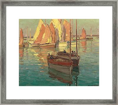 Fishing Boats In A Harbor Framed Print by Edgar Alwyn Payne