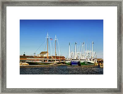 Fishing Boats In Cape May Harbor Framed Print