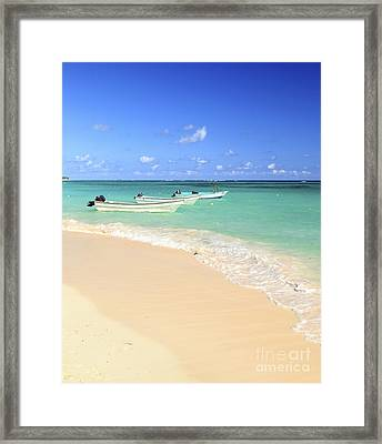 Fishing Boats In Caribbean Sea Framed Print by Elena Elisseeva