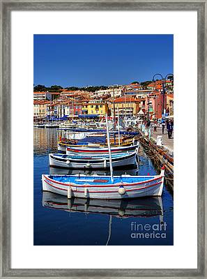 Framed Print featuring the photograph Fishing Boats In Cassis by Olivier Le Queinec