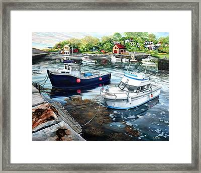 Fishing Boats In Lanes Cove Gloucester Ma Framed Print by Eileen Patten Oliver