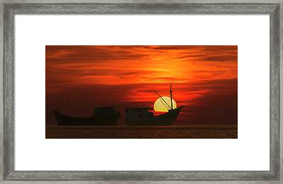 Framed Print featuring the photograph Fishing Boats In Sea by Pradeep Raja Prints