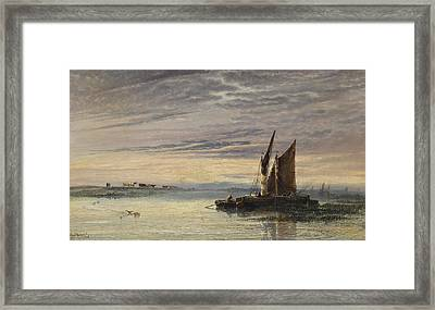 Fishing Boats In Shallow Waters At Sunset Framed Print