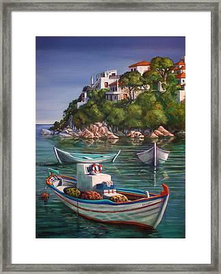 Fishing Boats In Skiathos Old Port Framed Print by Yvonne Ayoub