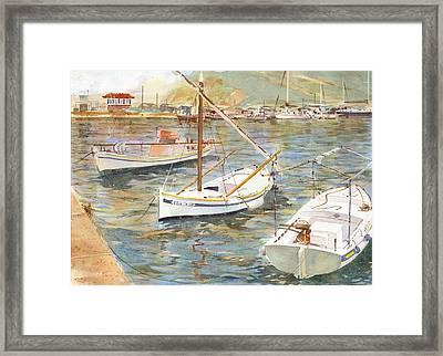 Fishing Boats In Skopelos Framed Print