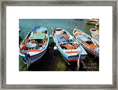 Fishing Boats In The Harbor Of Mondello, Sicily Framed Print