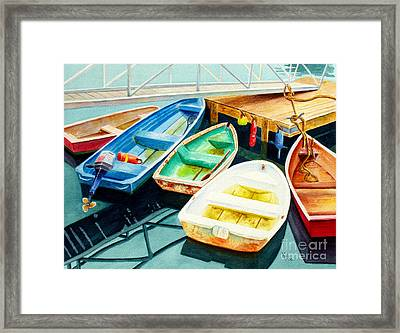 Fishing Boats Framed Print by Karen Fleschler