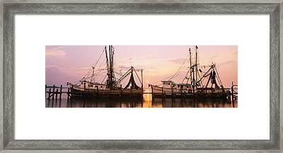 Fishing Boats Moored At A Dock, Amelia Framed Print by Panoramic Images