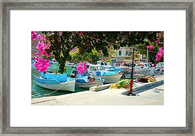 Fishing Boats Of Vathy Framed Print