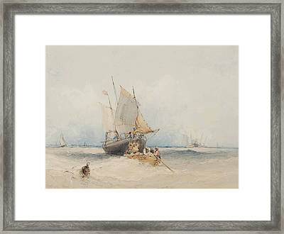 Fishing Boats Off Lowestoft Framed Print by MotionAge Designs
