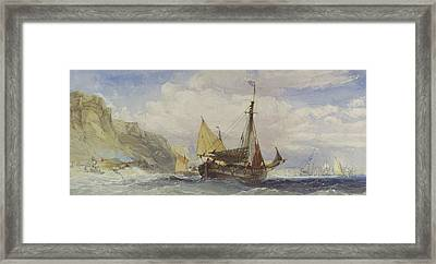Fishing Boats Off The Isle Of Wight Framed Print by Charles Bentley