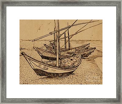 Fishing Boats On The Beach At Saintes-maries De La Mer, 1888 Framed Print
