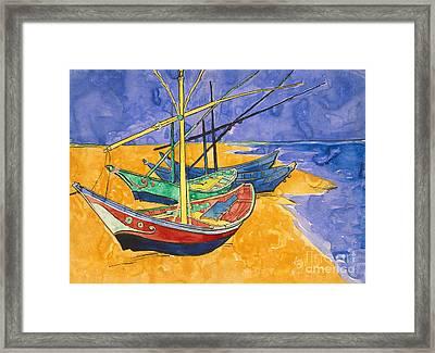 Fishing Boats On The Beach At Saintes Maries De La Mer Framed Print by Vincent Van Gogh