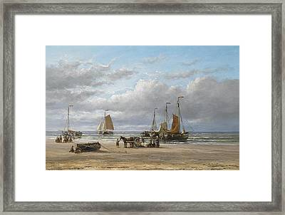 Fishing Boats On The Beach At Scheveningen Framed Print