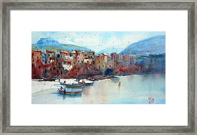 Fishing Boats On The Beach Of Cefalu Framed Print by Andre MEHU