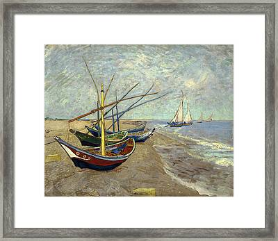 Framed Print featuring the painting Fishing Boats On The Beach by Van Gogh