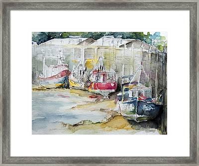 Fishing Boats Settled Aground During Ebb Tide Framed Print by Barbara Pommerenke