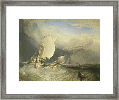 Fishing Boats With Hucksters Bargaining For Fish Framed Print