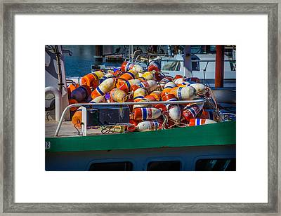 Fishing Bouys On Boat Deck Framed Print by Garry Gay
