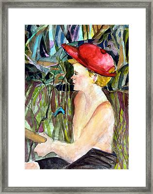 Fishing Boy Framed Print by Mindy Newman