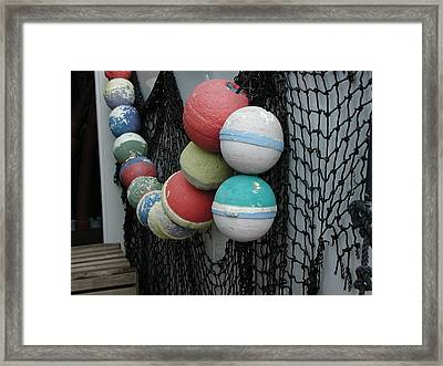 Framed Print featuring the photograph Fishing Buoys by Nancy Taylor