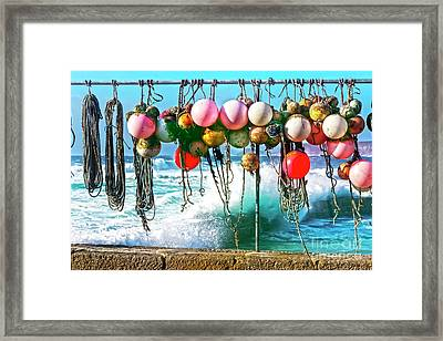 Framed Print featuring the photograph Fishing Buoys by Terri Waters