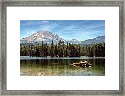 Fishing By Mount Lassen Framed Print by James Eddy