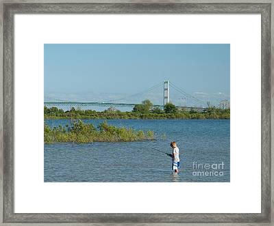 Fishing By The Macinac Framed Print