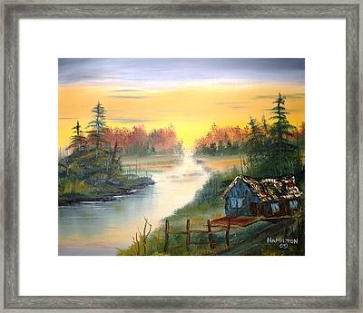 Fishing Cabin At Sunrise Framed Print