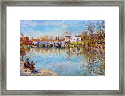 Fishing Day By Delaware Lake Buffalo Framed Print by Ylli Haruni