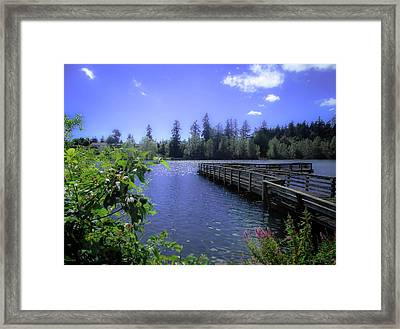 Fishing Dock, Lake Wapato Framed Print