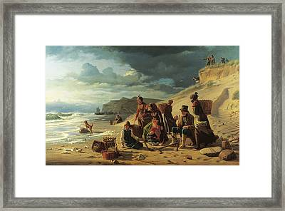 Fishing Families Waiting For Their Men To Return From An Incipient Storm. From Jutland West Coast Framed Print by Carl Heinrich Bloch