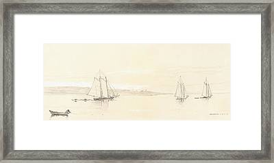 Fishing Fleet At Gloucester Framed Print by Winslow Homer